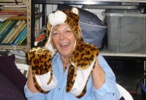 Marilyn Neary with headwear